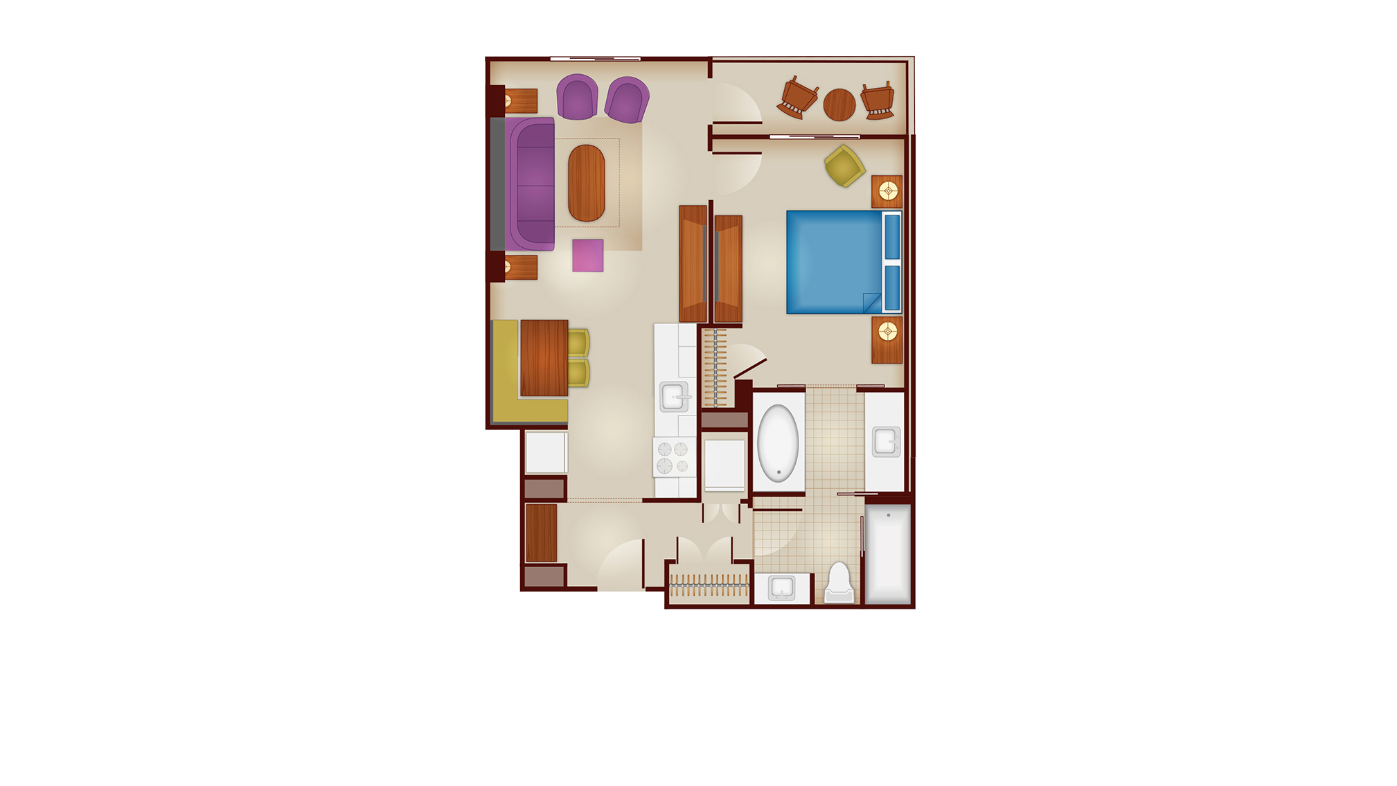 riviera 1-bedroom layout